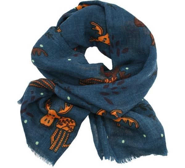 Image of Wool scarf playful moose blue