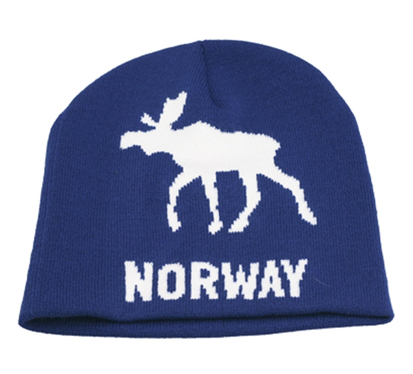 Image of Knitted hat with moose and Norway blue/white
