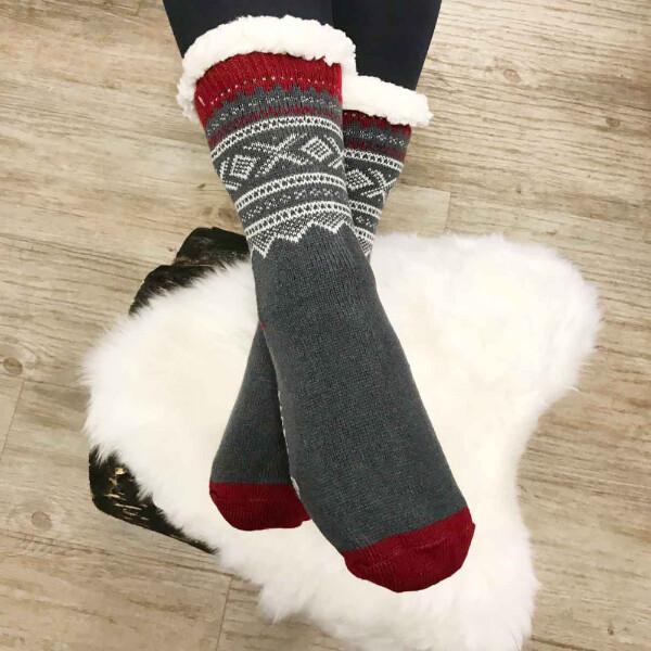Image of Snuggle sock, Marius® pattern©,  grey/white/red,