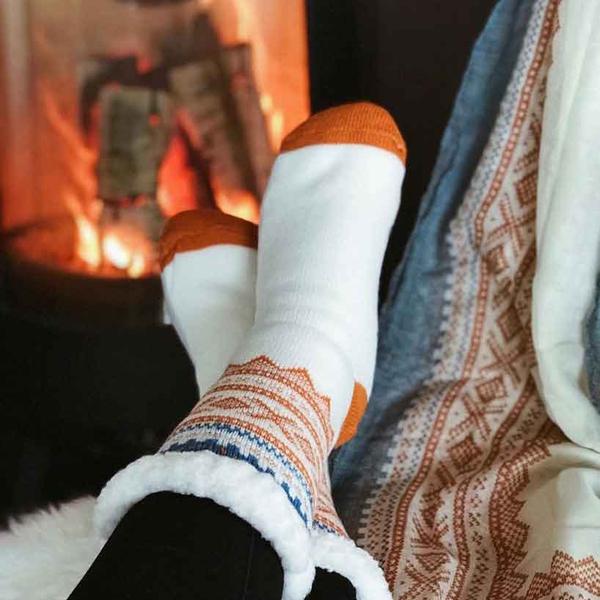 Image of Snuggle sock Marius® pattern© white/orange/blue