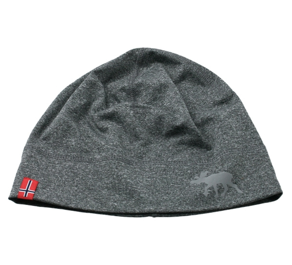 Image of Hat with flag and reflective moose, grey