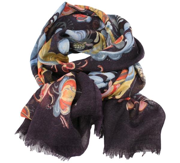 Image of Wool scarf Rosemaling grey purple