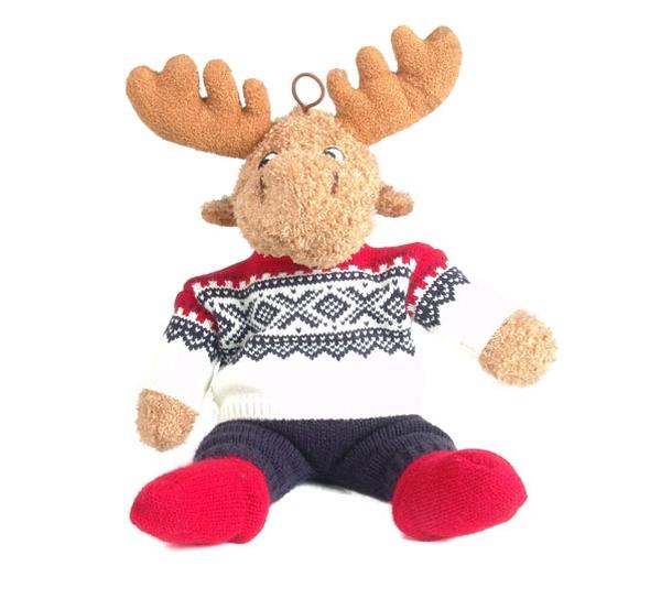 Image of Elgar the moose in Marius® pullover, white
