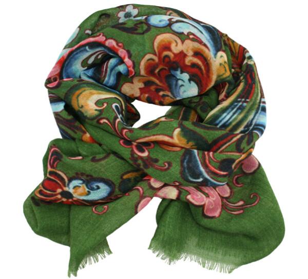 Image of Wool scarf Rosemaling green