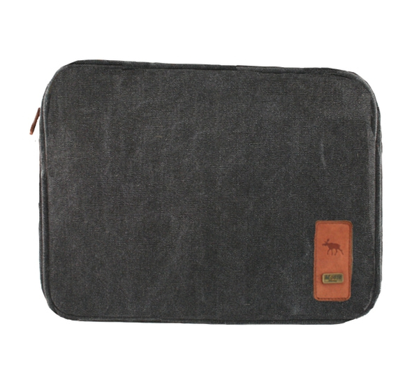 Image of Laptop cover in washed canvas, black, Jopo