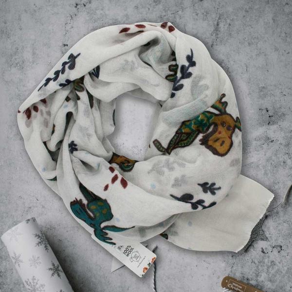 Image of Wool scarf playful moose white