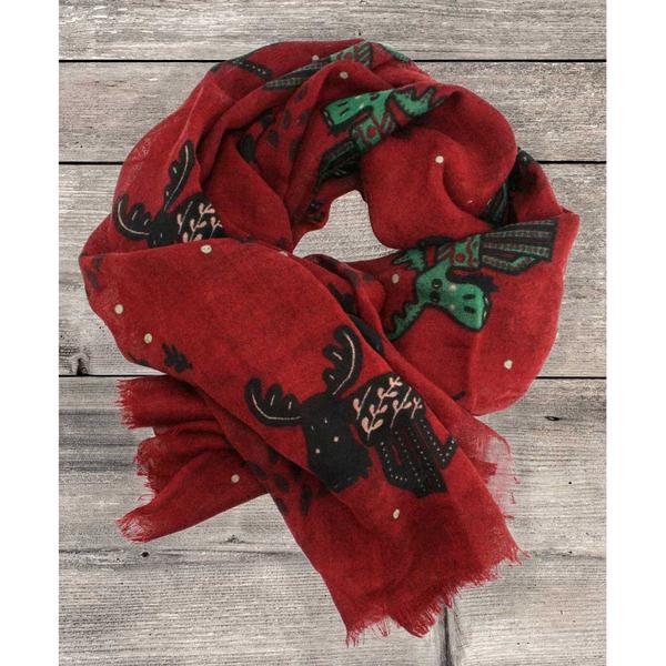 Image of Wool scarf playful moose red