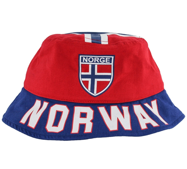 Image of Bucket hat 'Norway' red/blue