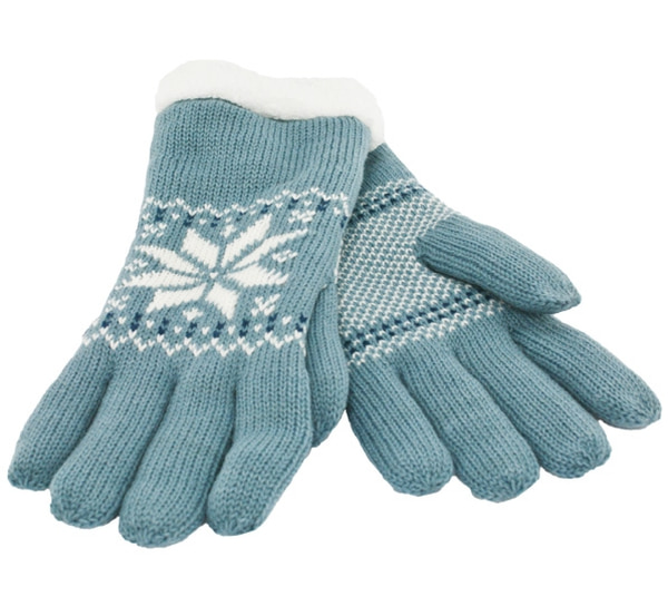 Image of Knitted gloves with star pattern blue/white