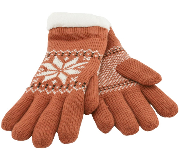 Image of Knitted gloves with star pattern rust brown/white
