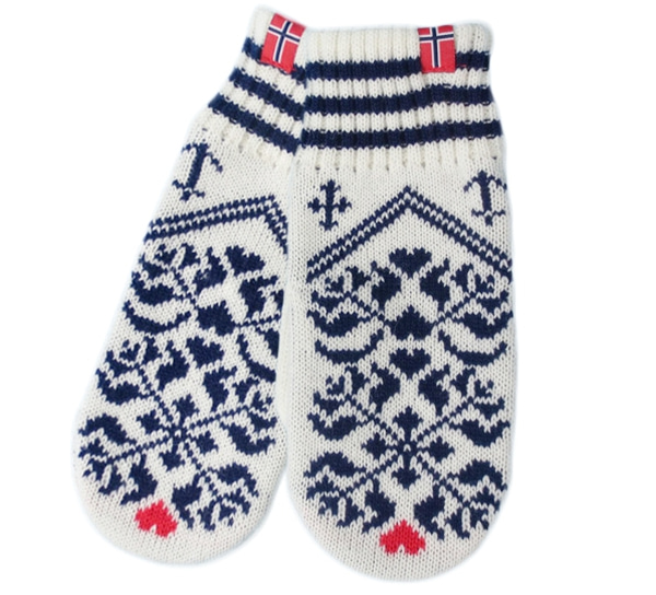 Image of Knitted mittens faith, hope and love white/blue