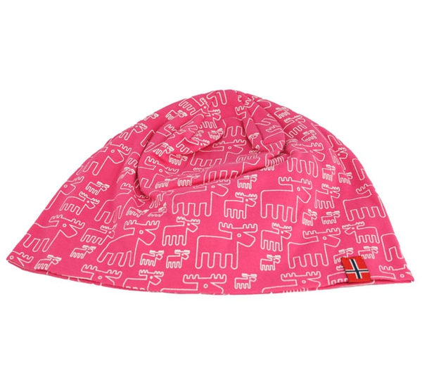 Image of Hat with moose design, flag, pink/white