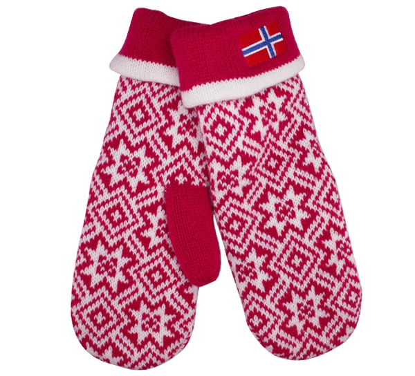 Image of Knitted mittens with flag pink/white