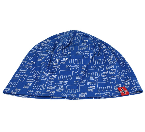 Image of Hat with moose design, flag, blue/white