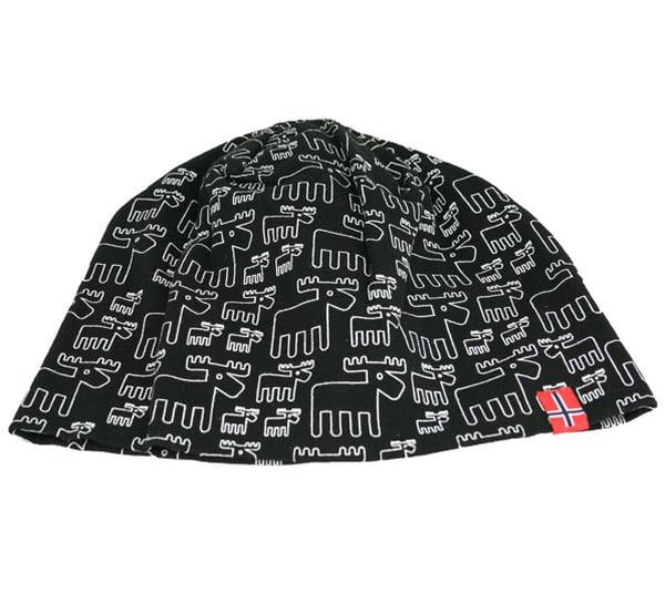 Image of Hat with moose design, flag, black/white