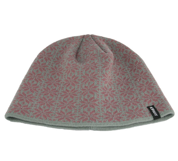 Image of Knitted hat with rose pattern, Norway, grey/pink