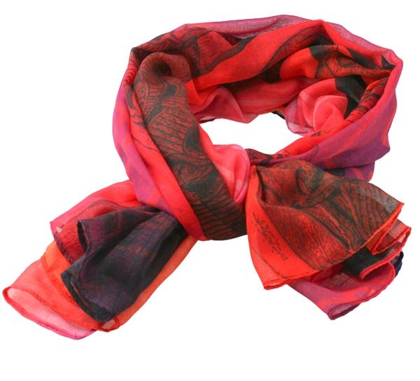 Image of Scarf, Viking pattern, red/pink