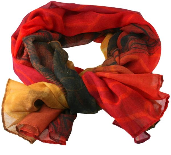 Image of Scarf, Viking pattern, red/ yellow