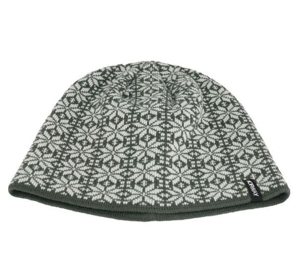 Image of Knitted hat with rose pattern, Norway, grey/white
