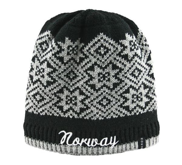 Image of Knitted hat with star pattern and Norway