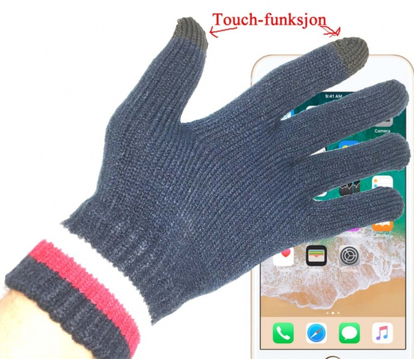 Image of Knitted gloves with touch funtion, blue