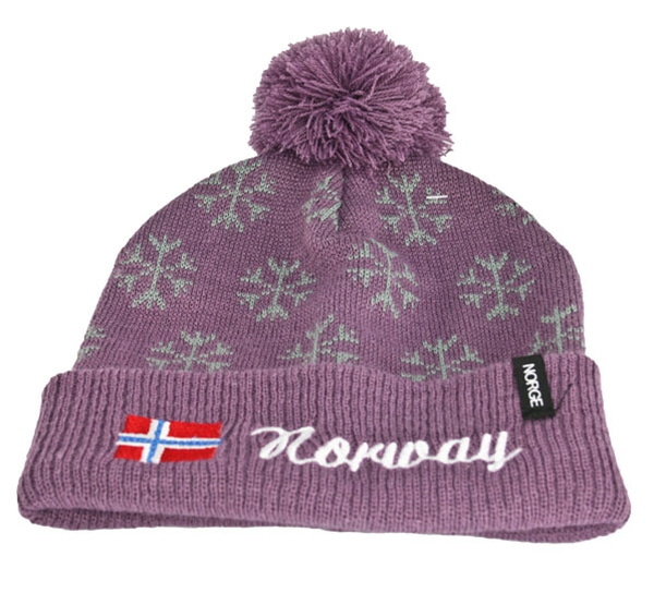 Image of Knitted hat, snowflake, purple with Norway