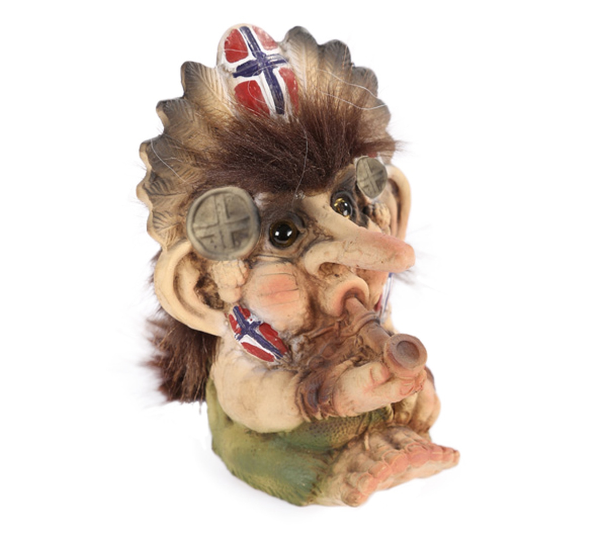 Troll with peace pipe, flag, (Troll # 025)