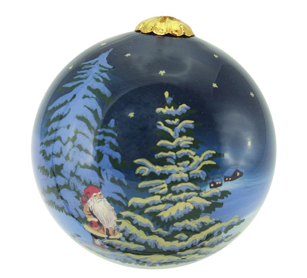 Image of Glass ball, santa in the forest