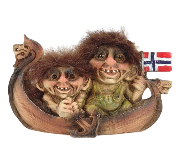 Image of Viking ship with two trolls 'Ny Form'