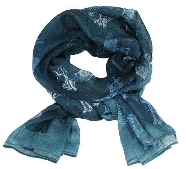 Image of Scarf with old reindeer petrol/blue/blac/white
