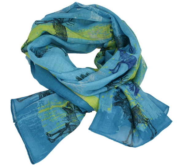 Image of Northern lights scarf with reindeer