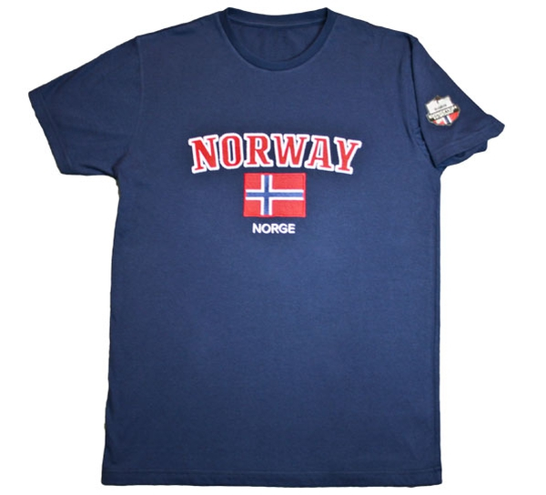 Image of T-shirt, Norway and flag  blue