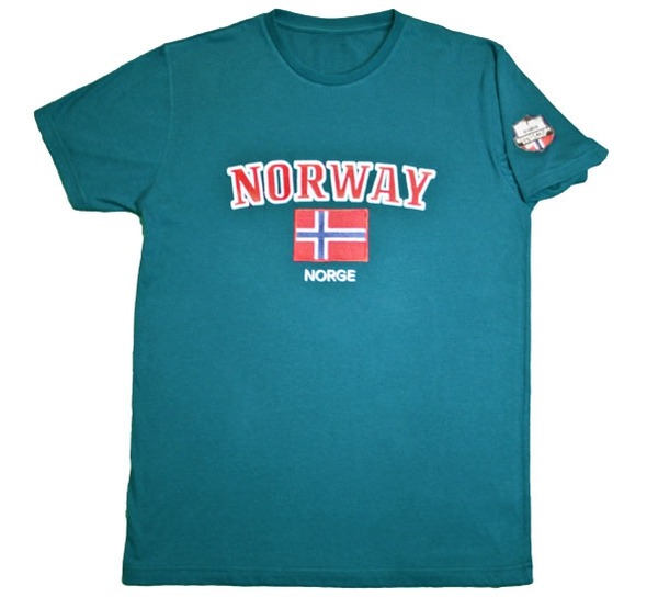 Image of T-shirt Norway and flag petrol