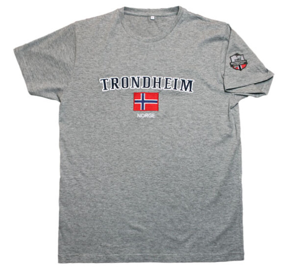 Image of T-shirt Trondheim and flag, mottled grey