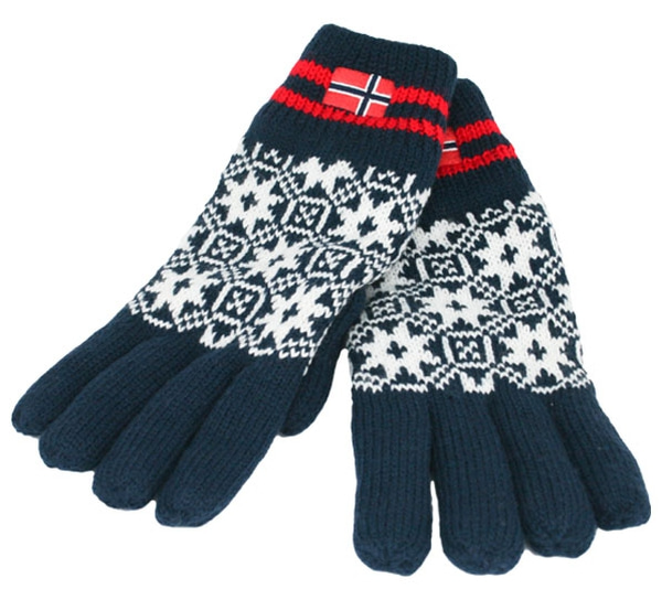 Image of Knitted gloves with flag navy blue/white