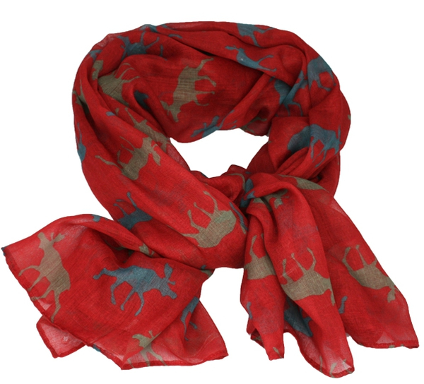 Image of Scarf with moose  warm red/petrol/grey