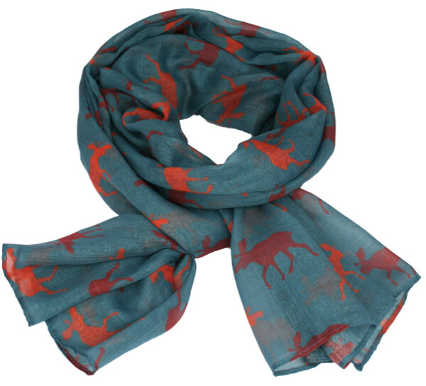 Image of Scarf with moose silhouettes light