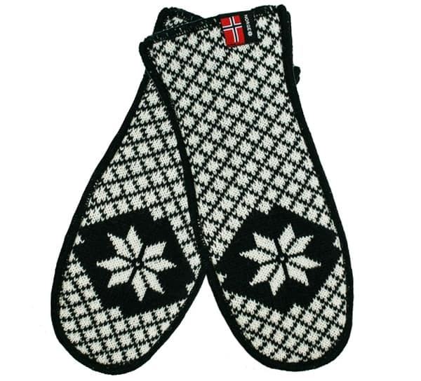 Image of Knitted mittens with grid pattern black/white