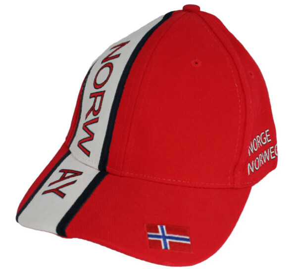 Image of Caps red/white/blue Norway and flag