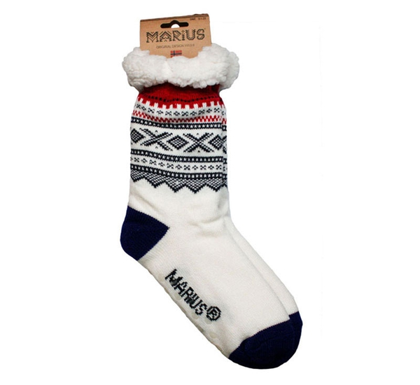 Image of Snuggle sock, Marius® pattern©,  white/blue/red,