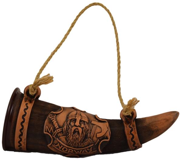 Image of Handmade ceramic horn with viking motive