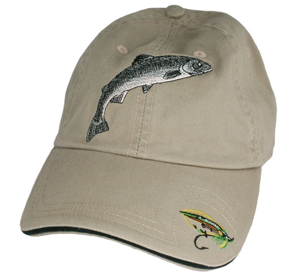 Image of Caps khaki with salmon and fly