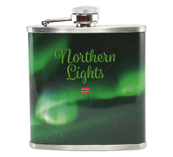 Image of Northern lights hip flask