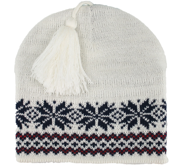Image of Knitted hat with star pattern white/blue/red