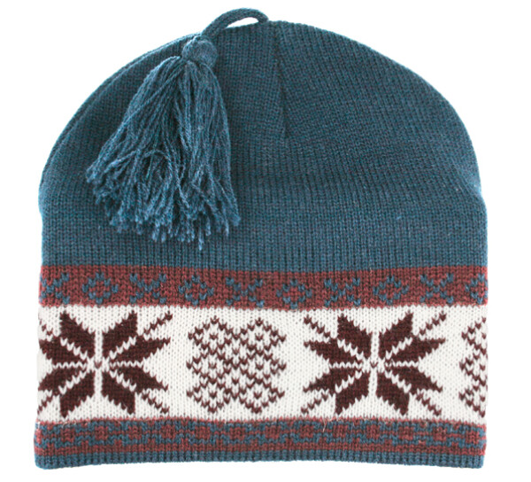 Image of Knitted hat with star pattern petrol/white/red