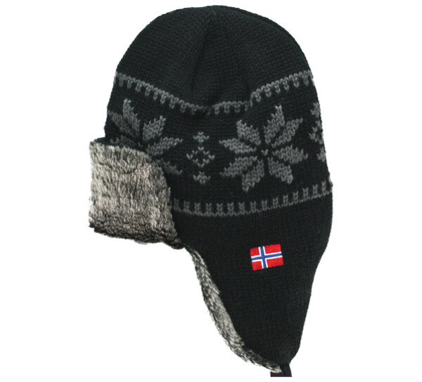 Image of Knitted hat with tie string black/grey