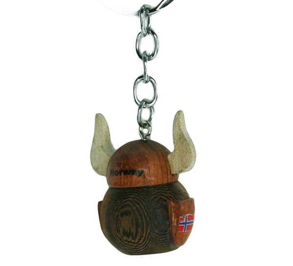 Image of Key chain, wooden viking with helmet, small