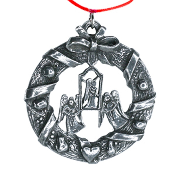Image of Ornament, Wreath with angels Tinn-Per