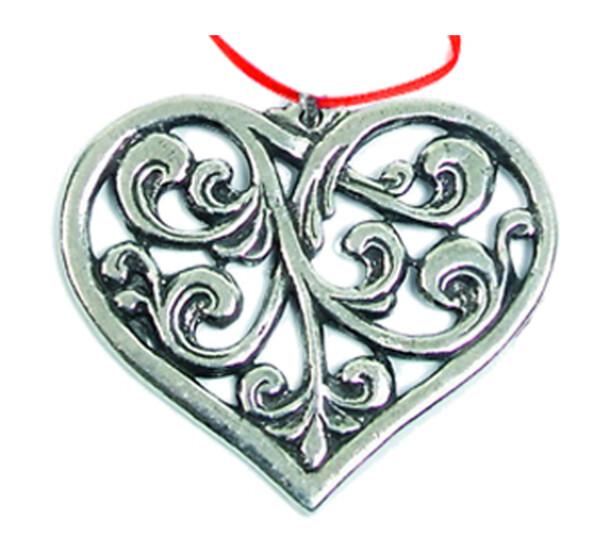 Image of Ornament, Rosemaling heart Tinn-Per