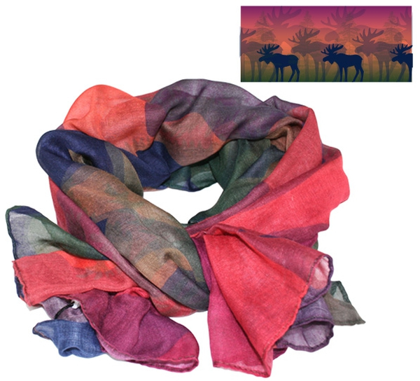 Image of Scarf, moose in the forest. Orange/blue/green